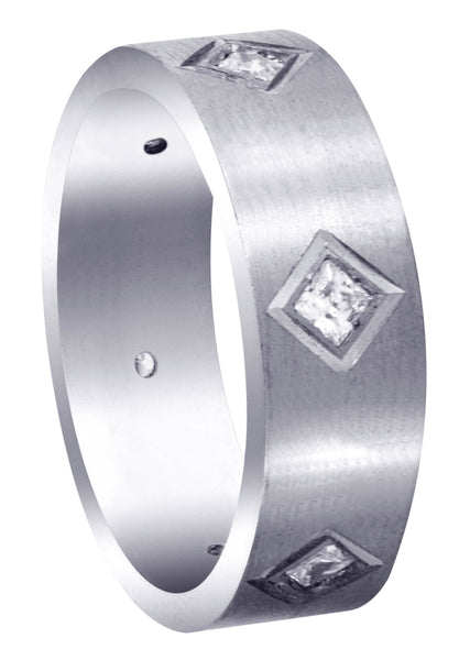 Diamond Mens Wedding Band | 0.6 Carats | Satin Finish (Titus)