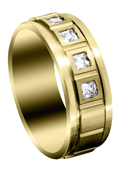 Yellow Gold Diamond Mens Engagement Ring | 0.6 Carats | Satin Finish (Emanuel)