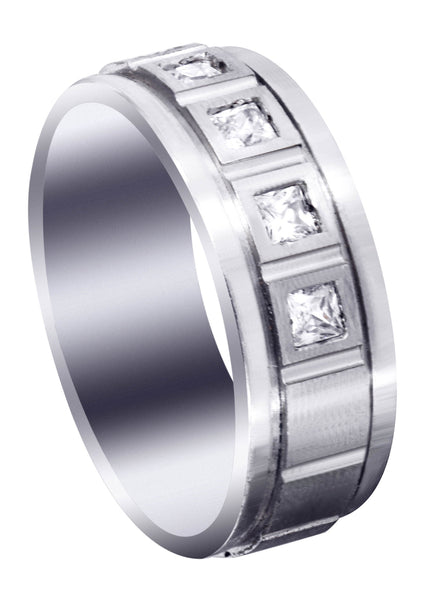 Diamond Mens Engagement Ring | 0.6 Carats | Satin Finish (Emanuel)