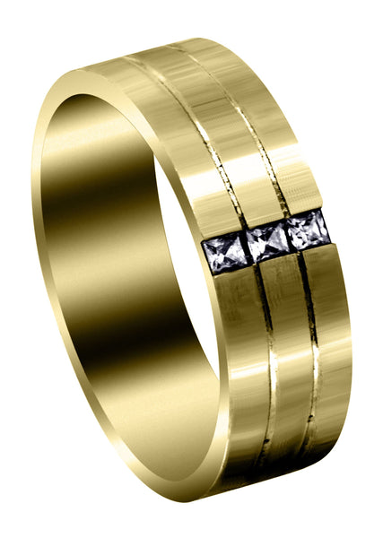 Yellow Gold Diamond Mens Wedding Band | 0.3 Carats | Satin Finish (Allen)