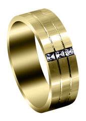 Yellow Gold Diamond Mens Wedding Band | 0.3 Carats | Satin Finish (Allen) Yellow Wedding Band FROST NYC