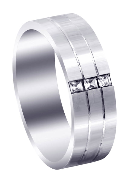 Diamond Mens Wedding Band | 0.3 Carats | Satin Finish (Allen)
