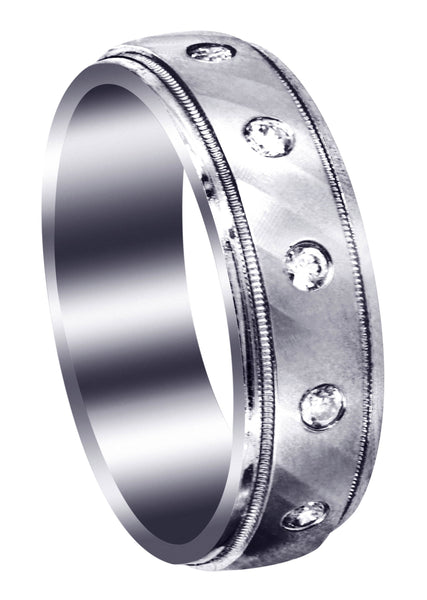 Diamond Mens Wedding Band | 0.36 Carats | Satin Finish (Desmond)