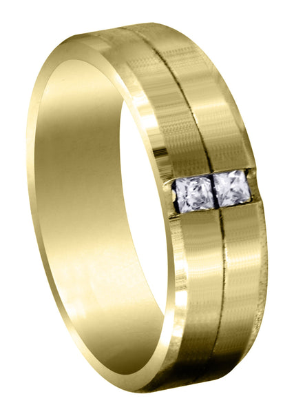 Yellow Gold Diamond Mens Wedding Band | 0.34 Carats | Satin Finish (Rhett)