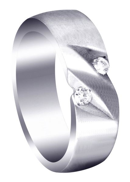 Diamond Mens Engagement Ring | 0.14 Carats | Satin Finish (Troy)