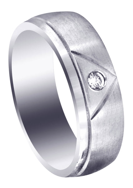 Diamond Mens Wedding Band | 0.07 Carats | Satin Finish (Emerson)