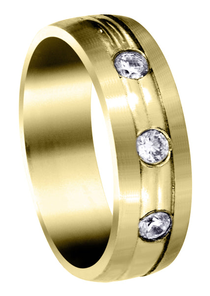 Yellow Gold Diamond Mens Wedding Band | 0.36 Carats (Brennan)