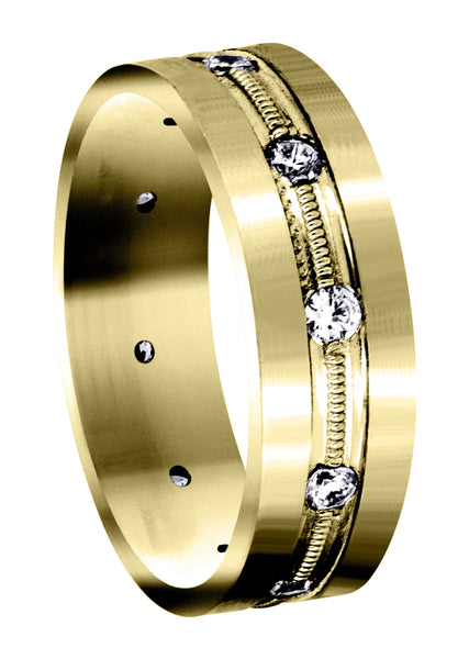 Yellow Gold Diamond Mens Wedding Band | 0.5 Carats (Franklin)