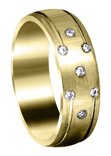Yellow Gold Diamond Mens Wedding Band | 0.11 Carats (Donald)