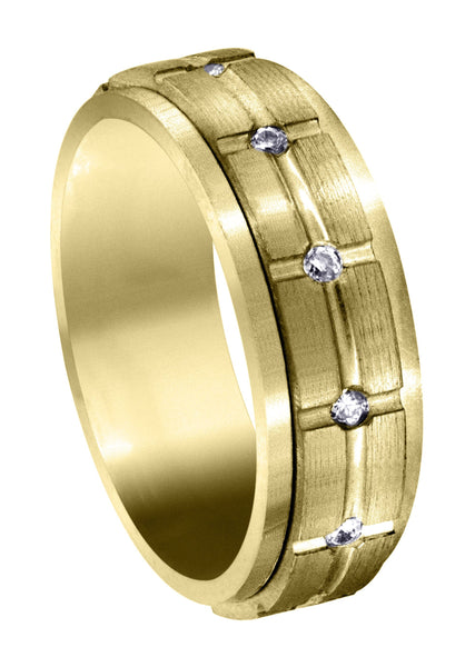 Yellow Gold Diamond Mens Wedding Band | 0.6 Carats | Satin Finish (Trevor)