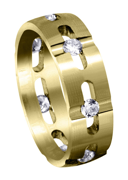 Yellow Gold Diamond Mens Wedding Band | 0.7 Carats | Satin Finish (Phoenix)