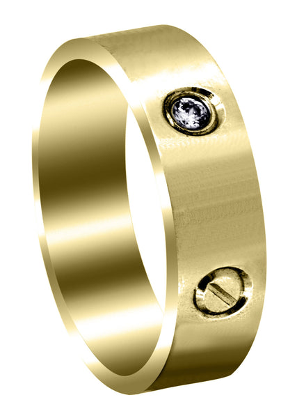 Yellow Gold Diamond Mens Wedding Band | 0.15 Carats (Princeton)
