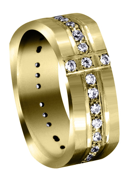 Yellow Gold Diamond Mens Wedding Band | 0.51 Carats | Satin Finish (Tate)