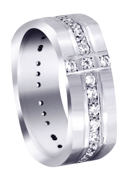 Diamond Mens Wedding Band | 0.51 Carats | Satin Finish (Tate)