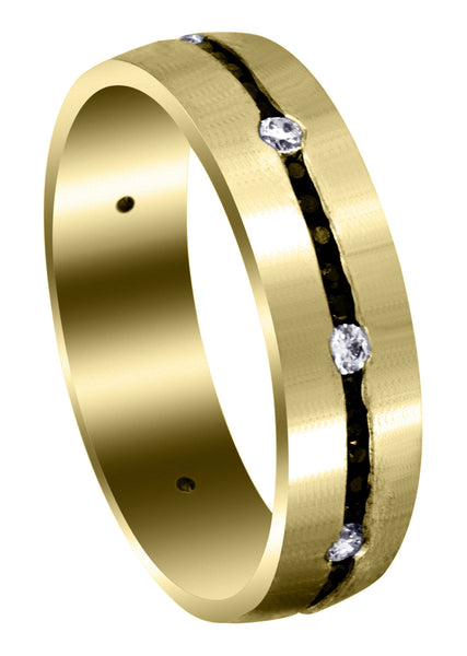 Yellow Gold Diamond Mens Wedding Band | 0.24 Carats | Satin Finish (Malcolm)