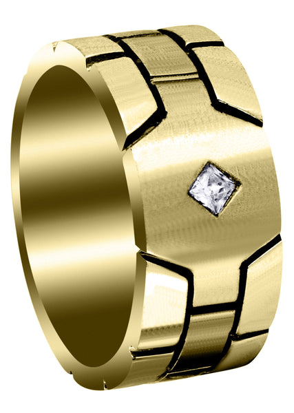 Yellow Gold Diamond Mens Engagement Ring | 0.1 Carats | Satin Finish (Ellis)
