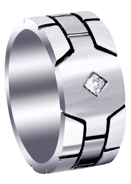 Diamond Mens Engagement Ring | 0.1 Carats | Satin Finish (Ellis)