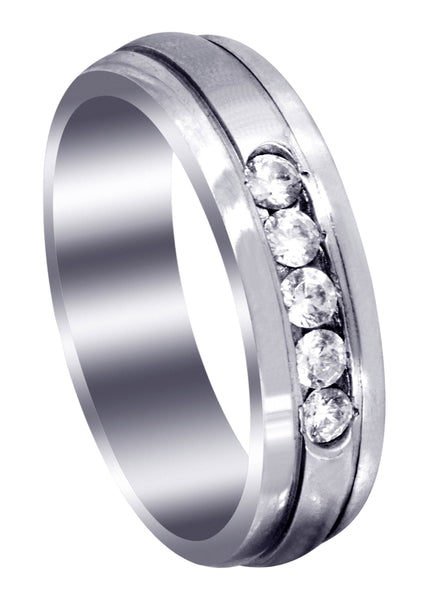 Diamond Mens Wedding Band | 0.35 Carats | Satin Finish (Gunnar)