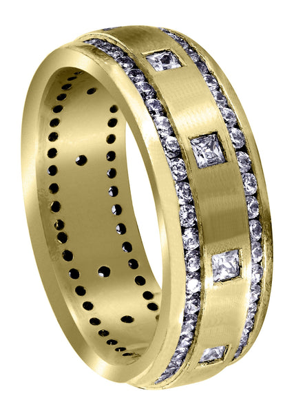 Yellow Gold Diamond Mens Wedding Band | 1.04 Carats | Satin Finish (Armando)
