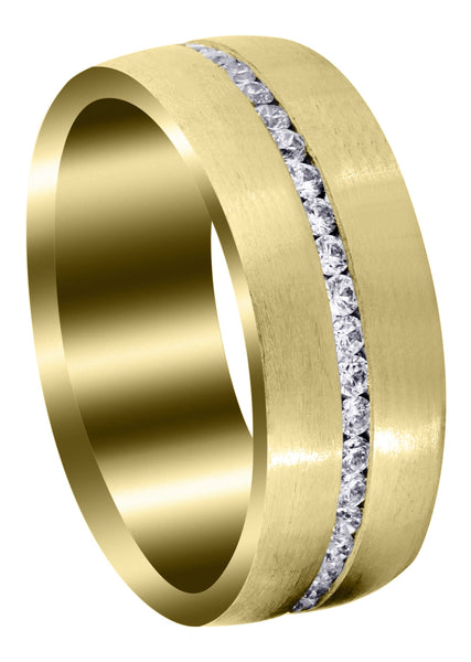 Yellow Gold Diamond Mens Wedding Band | 1.41 Carats | Satin Finish (Russell)