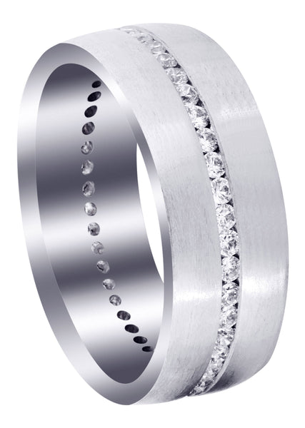 Diamond Mens Wedding Band | 1.41 Carats | Satin Finish (Russell)