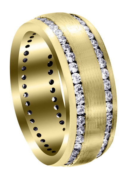 Yellow Gold Diamond Mens Wedding Band | 1.68 Carats | Satin Finish (Ari)