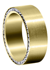Yellow Gold Diamond Mens Wedding Band | 1.88 Carats | Satin Finish (Eli)