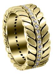 Yellow Gold Diamond Mens Wedding Band | 0.6 Carats | High Polish Finish (Drake)