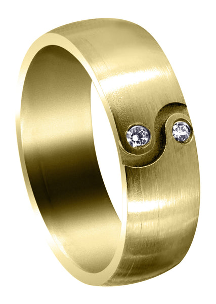 Yellow Gold Diamond Mens Wedding Band | 0.06 Carats | Satin Finish (Kellan)