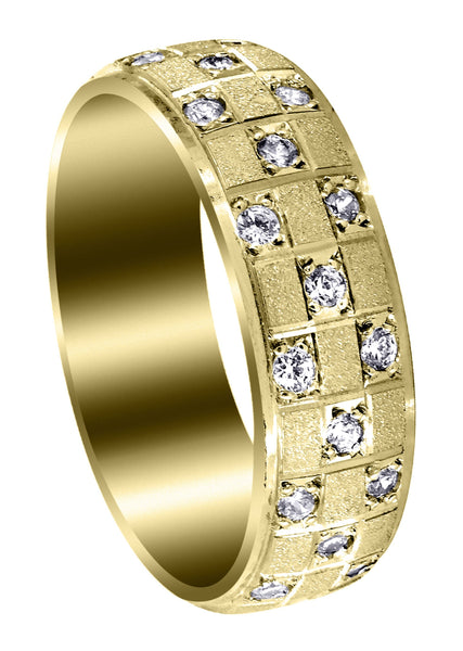 Yellow Gold Diamond Mens Wedding Band | 0.17 Carats | Stone Finish (Prince)