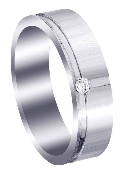 Diamond Unique Mens Wedding Band | 0.05 Carats | Satin Finish (Romeo)