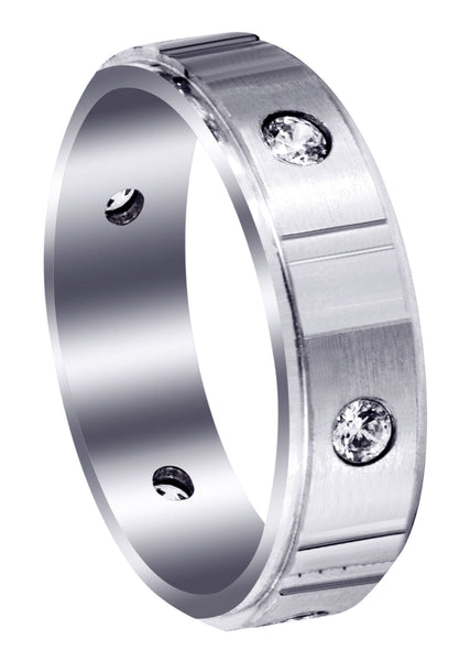 Diamond Mens Wedding Band | 0.42 Carats | Satin Finish (Noel)