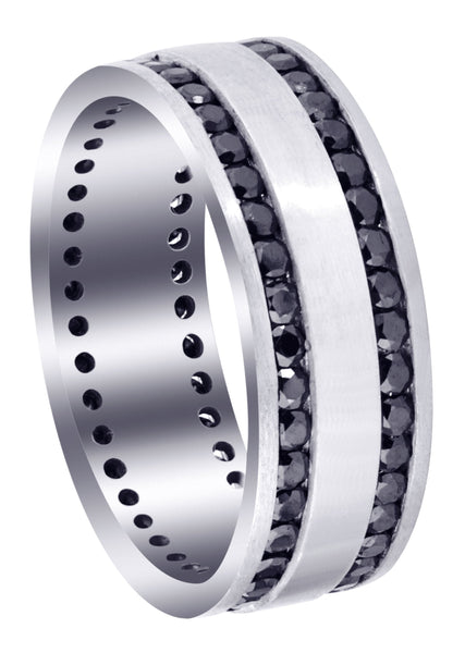Mens Black Wedding Band | 1.6 Carats | Satin / High Polish Finish (Orion)
