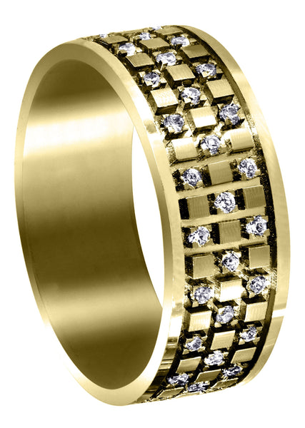 Yellow Gold Diamond Unique Mens Wedding Band | 0.38 Carats | Satin Finish (Muhammad)
