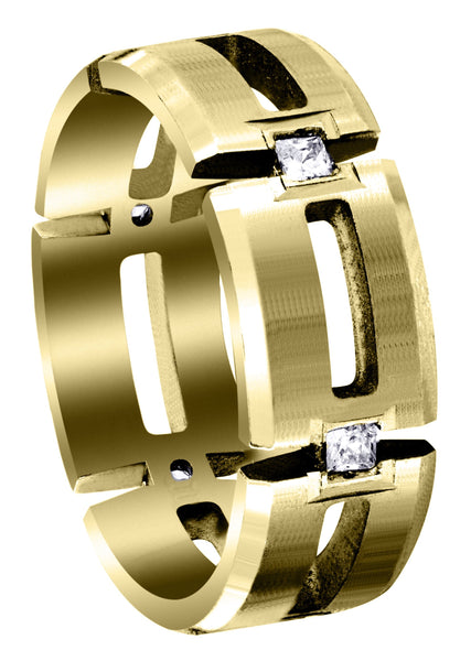 Yellow Gold Diamond Mens Wedding Band | 0.3 Carats | Satin Finish (Skyler)