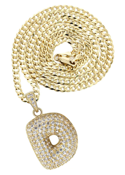 "10K Yellow Gold Cuban Chain & Bubble Letter ""D"" Cz Pendant 