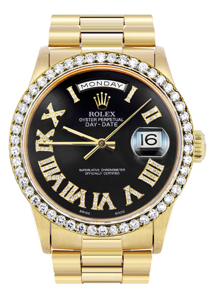 Rolex Day-Date | Presidential | 18K Yellow Gold | Diamond Bezel | Black Diamond Roman Dial