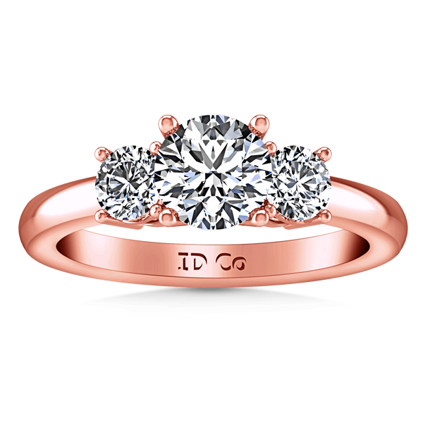 Three Stone Diamond EngagementRing Classic 14K Rose Gold