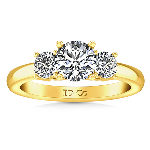 Three Stone Diamond Engagement Ring Classic 14K Yellow Gold