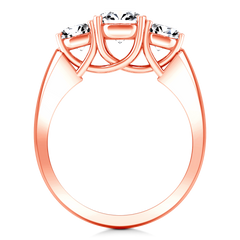 Three Stone Diamond EngagementRing 4 Prong Lattice 14K Rose Gold