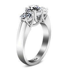 Round Diamond Three Stone Engagement Ring 4 Prong Lattice 14K White Gold engagement rings imaginediamonds