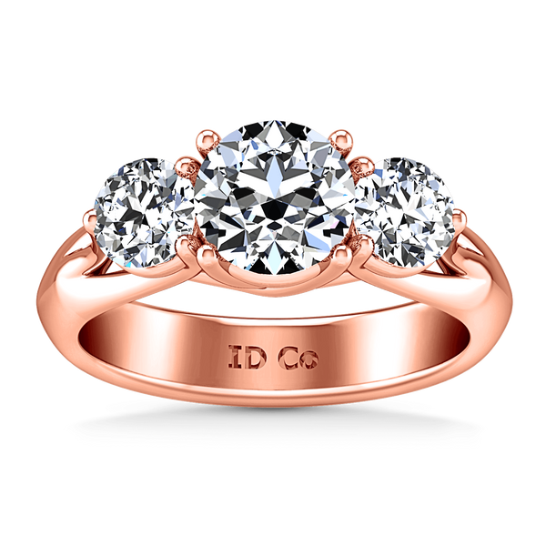Three Stone Diamond EngagementRing Charlotte 14K Rose Gold