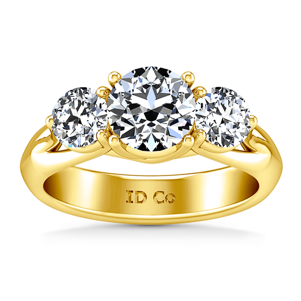 Three Stone Diamond Engagement Ring Charlotte 14K Yellow Gold