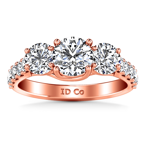 Three Stone Diamond EngagementRing Victoria 14K Rose Gold