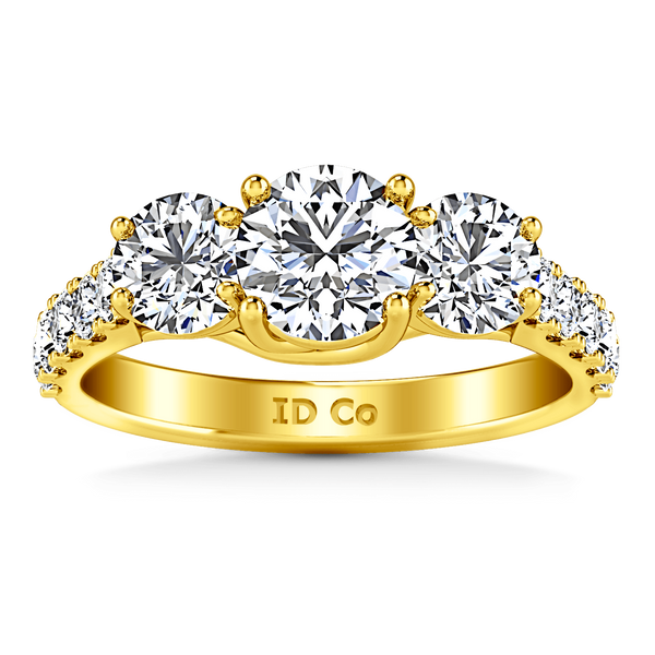Three Stone Diamond Engagement Ring Victoria 14K Yellow Gold