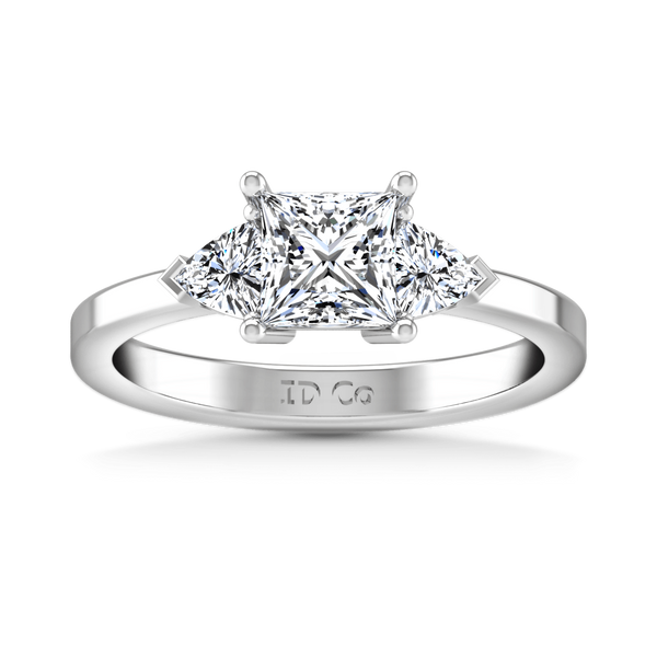 Three Stone Princess Cut Diamond Engagement Ring Simone 14K White Gold