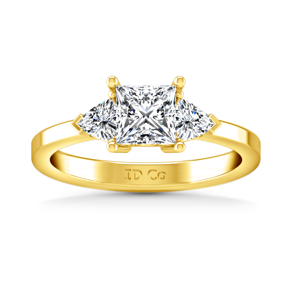 Three Stone Diamond Engagement Ring Simone 14K Yellow Gold