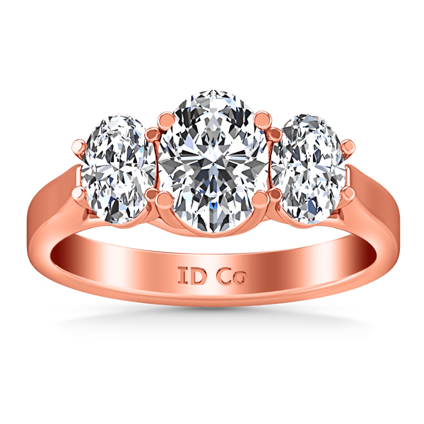 Three Stone Diamond EngagementRing Arabella 14K Rose Gold