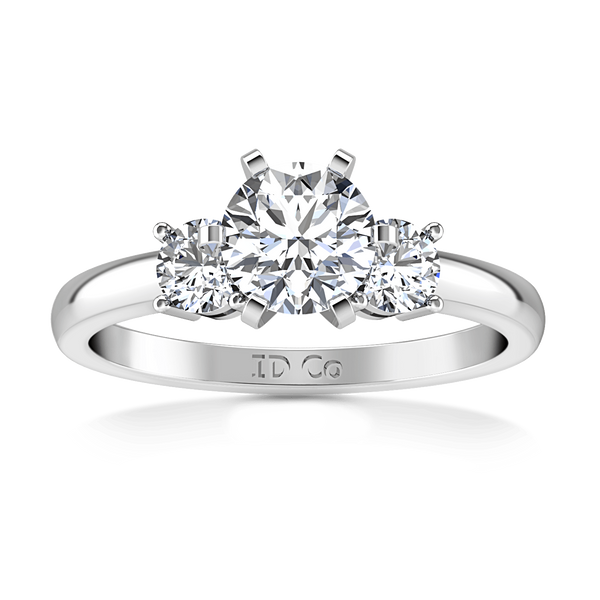 Round Diamond Three Stone Engagement Ring Talia 14K White Gold