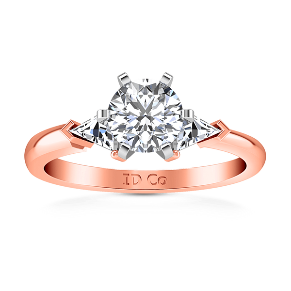 Three Stone Diamond EngagementRing Miranda Trilliant 14K Rose Gold